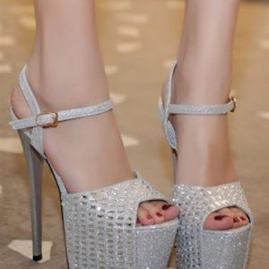 Sandali argento strass