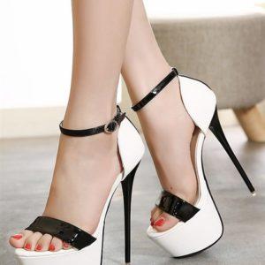Sandali tacco 17 bianco neri