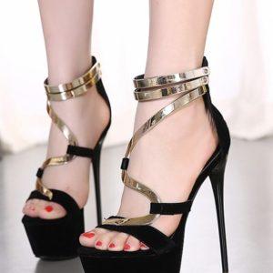 Sandali neri oro