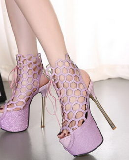 Sandali traforati lilla tacco 16