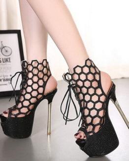 Sandali traforati neri tacco 16