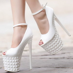 Scarpe bianche tacco 19