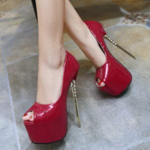 Scarpe vernice rosse tacco oro