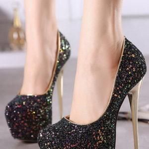 Scarpe nere glitter tacco 16
