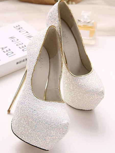 negozio online 61c93 8a74c Scarpe bianche glitter tacco 16