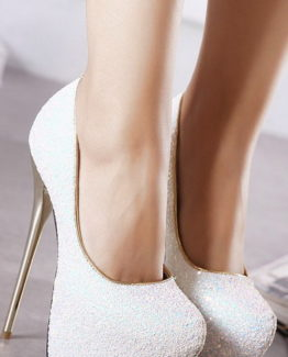 Scarpe bianche glitter tacco 16