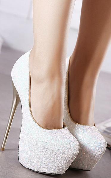 online store 5d615 3a521 Scarpe bianche glitter tacco 16