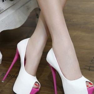 Scarpe bianche fucsia tacco 16