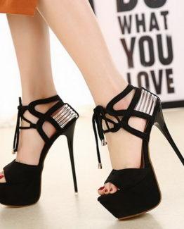 Sandali neri oro lacci