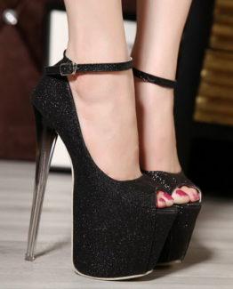 Scarpe glitter nere tacco 19