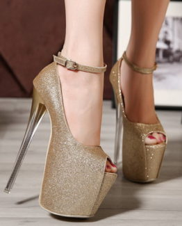 Scarpe glitter oro tacco 19