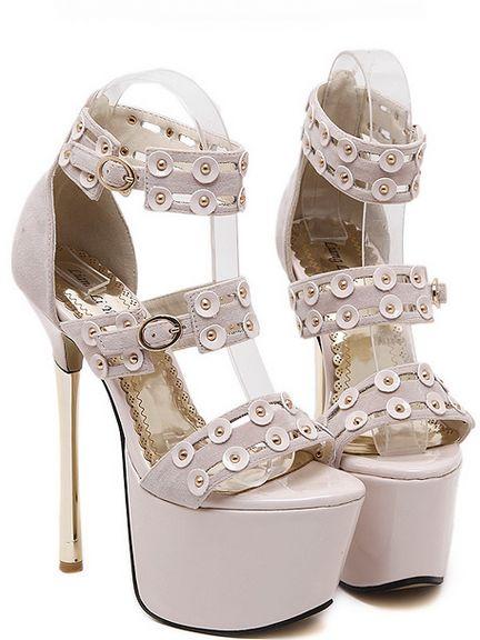 Sandali beige tacco oro